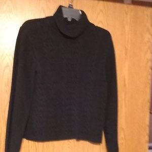 Turtle neck black cable knit sweater